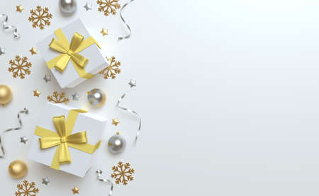 3d Christmas background top view, white gift and gold bow, silver and golden balls, tinsel and stars. 版權商用圖片