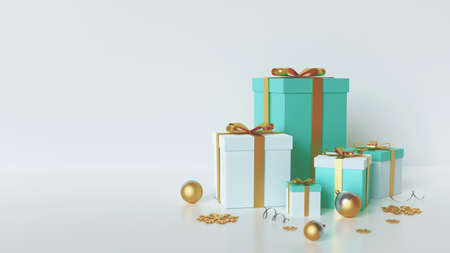 3d Christmas background horizontal view, white and blue gift and gold bow, silver and golden balls, tinsel and stars. 版權商用圖片