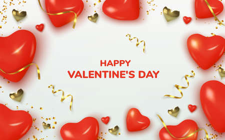 Valentines Day greeting card. Realistic 3d red hearts in tinsel and gold metallic text . Love and wedding. Template for products, web banners and leaflets. Vector