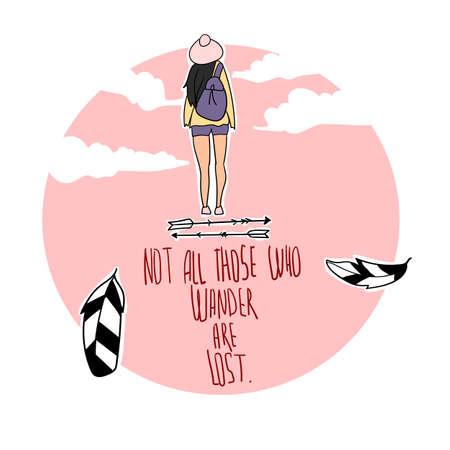 """Illustration eines Boho-Mädchens mit inspirierend Zitat """"Nicht alle jene, die wandern, sind verloren"""". Boho-Design. Ethnisch, Zigeunerstil. Federn, Stammespfeile."""