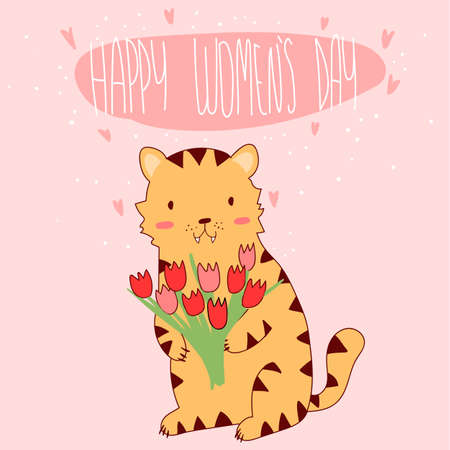 tigre cachorro: Vector illustration of cute tiger cub holding bouquet of tulips to Womens Day. Celebration, congratulations.