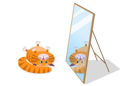 A cute red cartoon fat cat, kitty with a funny muzzle, face lies on its back and looks at its reflection in the mirror. Cat with blue eyes, long mustache, sharp ears. For animal store, pets shop.