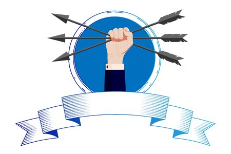 Illustration, logo, symbol for the Law Office, corporation, company - A female hand in a business suit holds three arrows in a clenched fist, with a solemn, festive ribbon. Vector isolated background