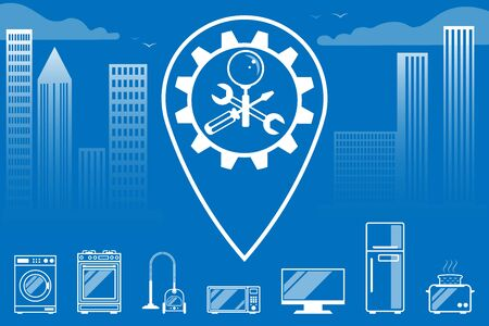 Repair, maintenance of household appliances - a symbol, sign in the form crossed screwdriver, wrench and magnifier. Against the background of the city, skyscrapers and geolocation. For service, store