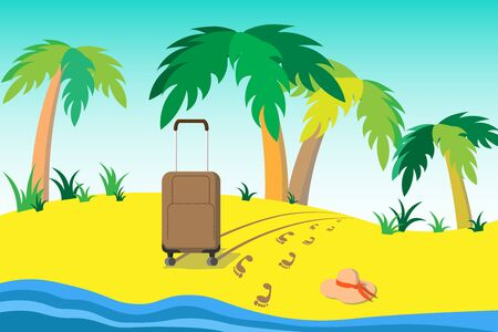 Illustration A travel suitcase stands on a yellow sand beach next to the blue sea on a background of palm trees. Nearby footprints in the sand and a thrown hat. For magazine, web site, travel agencies