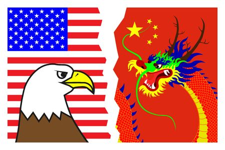 Political and economic confrontation, struggle, rivalry between the US and China. Eagle on the background of the American flag against the Dragon on the background of the Chinese flag. Vector Illusztráció