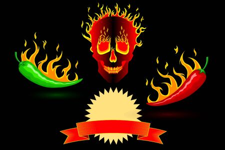 Spicy hot burning mexican red and green peppers in fire on a background of a burning fiery human skull. Black neutral background. Vector vertical orientation. For cooking, websites, blogs, advertising Ilustração