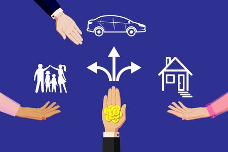 Offer money, finance, sponsorship for the family, purchase a home and apartment, real estate, purchase a car. Hand in a business suit gives holds out gold coins of a dollar. Horizontal vector