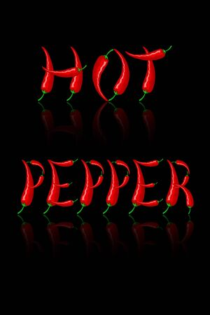 The inscription HOT PEPPER in the form of letters made of red Mexican peppers with mirror reflection. Vector isolated on a black background. For cooking, print, websites, blogs, advertising