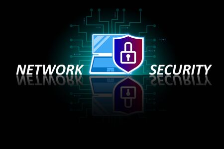 Network cyber security, data protection, electronic payments, transactions and transfer worldwide. Laptop with shield and lock on a digital black background with mirror reflection Vectores