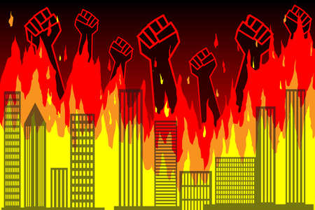 Public protests. Silhouettes of raised fists protesting against the backdrop of a burning city, skyscrapers. Wall of fire, burning buildings, city. Vector news illustration, info, article, publication