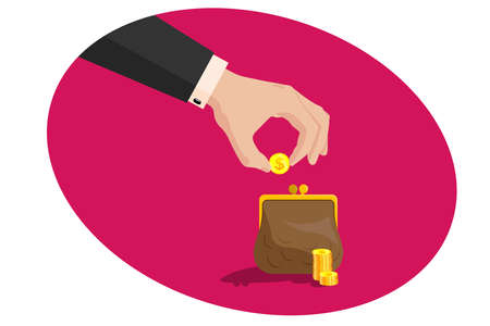 Hand of a business man in a suit puts a golden dollar in a purse, near a pile of coins. Issuing loans, deposits, loan money, saving money and finances, banking. Vector on white isolated background. Vectores