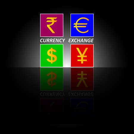 The inscription Currency exchange. Symbols of currencies, money of different countries for financial transactions on black background with mirror reflection. Financial company, bank, exchange office Çizim
