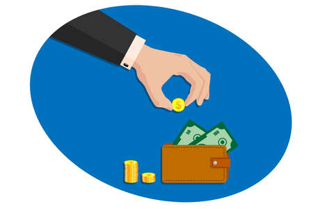 Hand of a business man in a suit puts a golden dollar in a leather purse. Issuing loans, deposits, loan money, saving money and finances, banking. Vector on white isolated background.