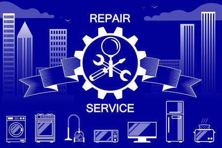 Repair, maintenance of household appliances - a symbol, sign in the form crossed screwdriver, wrench and magnifier with ribbon and gears. Against the background of the city, skyscrapers. For service