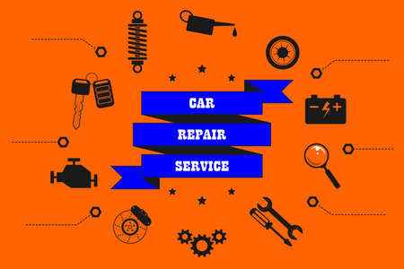 Car repair service, diagnostics, maintenance, tire fitting - inscription on a ribbon. Around are spares, machine parts and tools icons, sign. Vector isolated in retro style for service, store