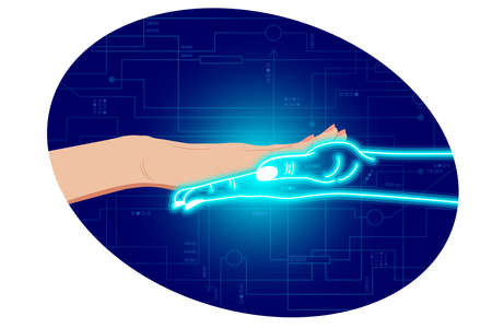 Artificial Intelligence, neural learning artificial networks, stylization in the form of female hand touches cyber digital hand in neon color. On a digital cyber background. Vector isolated horizontal