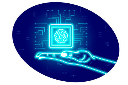 Artificial Intelligence, neural networks, stylization female cyber digital hand holds processor with a brain in neon color. On a digital cyber background. Vector isolated horizontal