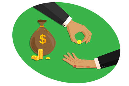 Two business man and woman hands in business suits. One hand holds out, gives and lends a bag of money, gold dollars coins. The second hand gesture asks for money. Deposits, loans, finance and banking