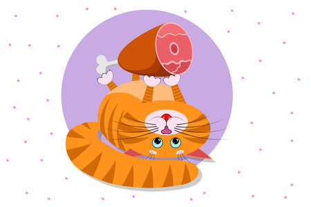Food for cats and pets. A cute cartoon red fat cat, kitty lies on its back and holds in its paws big appetizing ham. Cat with blue eyes, long mustache, sharp ears and claws. Vector for pets shop