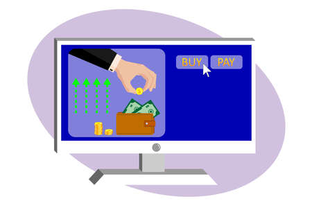 On the monitor screen, a hand of a business man in a suit puts a golden dollar in a leather purse. Online payments, money transfers, online purchases. Vector on white isolated background.