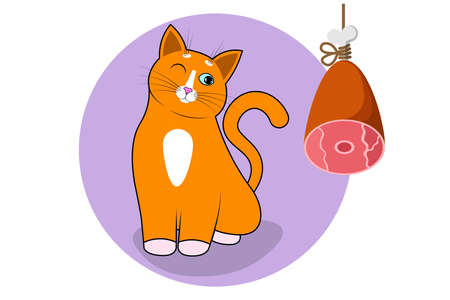 A cute cartoon red cat, kitty sits with narrowed eyes and happy face, muzzle next to the hanging ham. Food for cats and pets. Cat with long mustache, sharp ears and long tail. Vector for pets shop