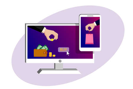 On the monitor and smartphone screen one hand in suit pays golden coin, the second hand holds out the package with the purchase. Online payments, money transfers, online purchase. Vector isolated