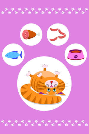 Food for cats and pets. Cat footprint. A cute red cartoon cat with a funny muzzle, face lies on its back and looks at different food. Cat with blue eyes, long mustache, sharp ears. Vector high quality Illustration