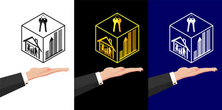 Real estate agency. Female hand of the seller holds a stylish logo silhouettes of city buildings, skyscrapers in a cube. Mortgage, deposit, loans, credit, banking. Vector HQ, three design options