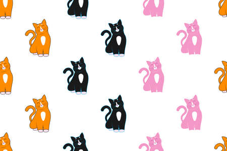 Seamless ornament, pattern, background and template. Three cute cartoon red, black and pink cats sit with closed eyes and happy faces, muzzles. 向量圖像