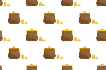 Seamless ornament, pattern, background and template. Retro leather wallet with a stack of gold coins. Issuing loans, deposits, loan money, saving money and finances, banking. Vector Vectores
