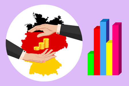 Economy and budget of Germany. Two female hands in a business suit around gold euro coins. Map of Germany in the colors of the national flag. Symbol of protection, stability. Vector horizontal