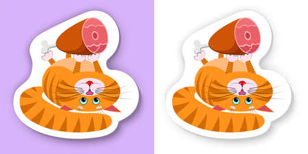 Food for cats and pets. A cute cartoon red fat cat, kitty lies on its back and holds in its paws big appetizing ham. With white outline and drop shadow. Vector high resolution, quality for pets shop