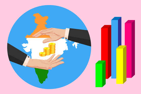 Economy and budget of India. Two female hands in a business suit around gold indian rupee coins. Map of India in the colors of the national flag. Symbol of protection, stability. Vector horizontal