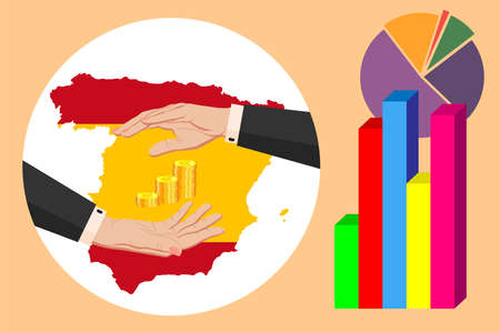 Economy and budget of Spain. Two female hands in a business suit around gold euro coins. Map of Spain in the colors of the national flag. Symbol of protection, stability. Vector horizontal