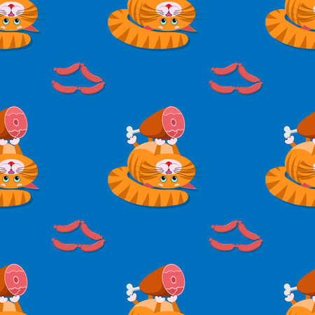 Seamless ornament, texture, pattern, background, template. A cute cartoon red fat cat, kitty lies on its back and holds in its paws big appetizing ham, sausages. For animal store, pets shop. Vector