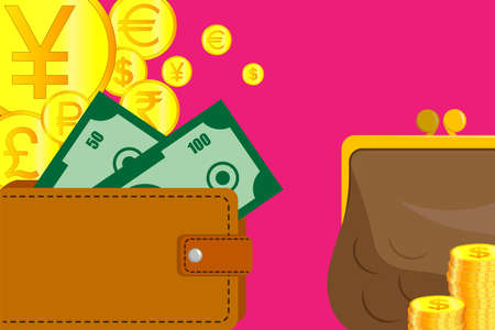 Stacks of gold coins stand next to a leather wallet, purse and banknotes. Issuing loans, deposits, loan money, saving money and finances, banking. Vector isolated
