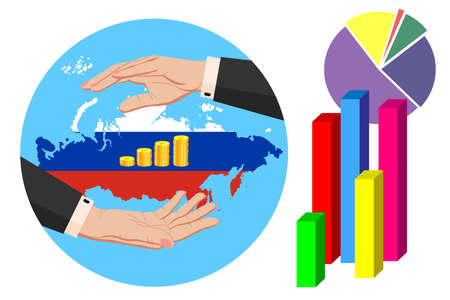 Economy and budget of Russian Federation. Two female hands in a business suit around gold ruble coins. Map of Russian Federation in the colors of the national flag. Symbol of protection, stability