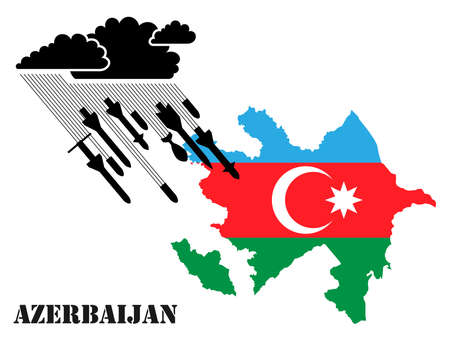 Illustration for armed military conflict, war and confrontation in Azerbaijan. From a thundercloud, rain pours, falling from rockets and shells against the background of the flag of Azerbaijan. Vector