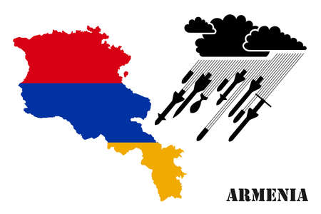 Illustration for armed military conflict, war and confrontation in Armenia. From a thundercloud, rain pours, falling from rockets and shells against the background of the flag and map of Armenia