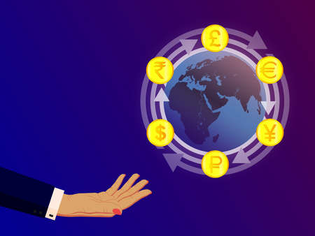 Illustration for currency exchange. Symbols of money, currencies of different countries of the world are located on arrows around the Earth. For financial company, bank, exchange office. Vector