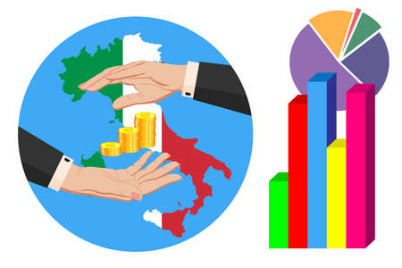 Economy and budget of Italy. Two female hands in a business suit around gold euro coins. Map of Italy in the colors of the national flag. Symbol of protection, stability. Vector horizontal Ilustrace