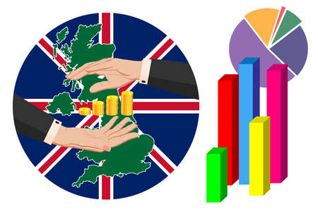 Economy and budget of Great Britain, England. Two female hands in a business suit around gold pound sterling coins. Map of Great Britain in the colors of the national flag. Symbol of stability Ilustrace