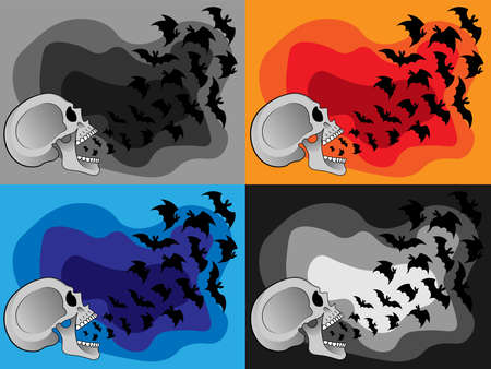 A flock of bats fly out of the open mouth of a human skull. Illustrations, decor for Halloween. Vector in four design options. Grinning scary, frightening human Skull. All Saints' Day