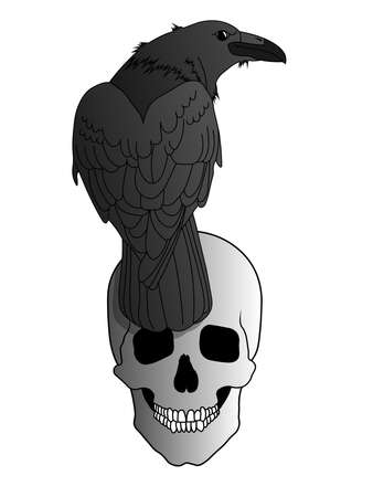 A black raven sits on a grinning human skull. Illustration for Occult, Ritual, Black Magic and Witchcraft. Raven looks over his shoulder. Grinning scary human Skull. Vector isolated