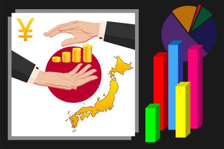 Economy and budget of Japan. Two female hands in a business suit around gold yen coins. Map of Japan in the colors of the national flag. Symbol of protection, stability. Vector horizontal