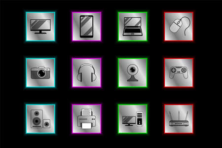 Large set of 12 icons, symbol for digital, video and computer equipment, gadgets in high tech metal and steel style. Vector horizontal. For shops, advertising, banners, prints, cards 矢量图像