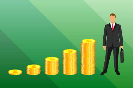 A businessman in a business suit with a briefcase in his hands stands on the background of gold coins in the form of a growing graph. Issuing loans, deposits, loan money, saving and finances, banking