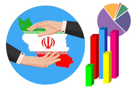 Economy and budget of Iran. Two businessman hands in a business suit around the map of Iran in the colors of the national flag. Symbol of protection, stability, graph and chart. Vector horizontal
