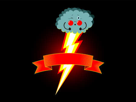 A small thundercloud pushes, as on a toilet, and lightning from burning with ribbon, tape for label. Tense arms, pouting cheeks, squinted eyes. Cute cartoon illustration, vector horizontal. Flat style